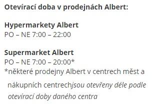 Otevírací doba Albert