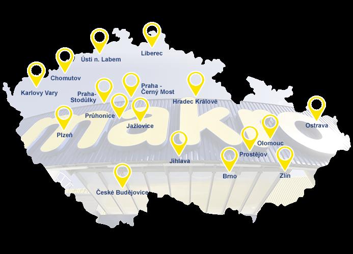 Mapa prodejny Makro